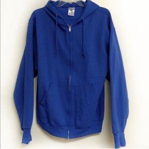 Jerzees Hoodie Zip Up Sweatshirt Size Small Blue
